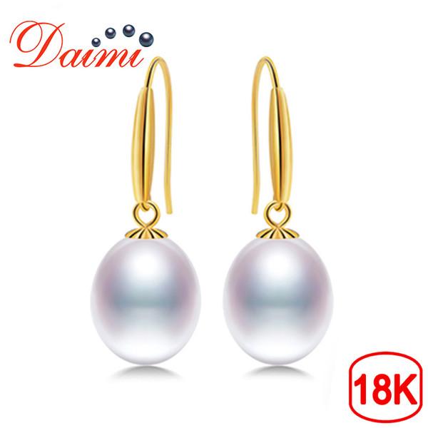 70be8673bb53 Daimi 18 k oro gancho pendientes 8-9 mm pendientes de perlas de agua dulce