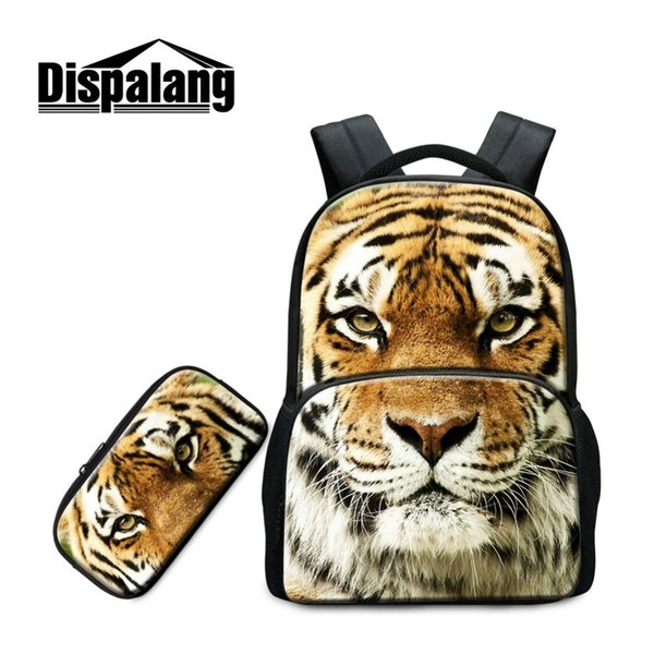 Dispalang Newest 2 in 1 Set Multi-function Laptop Backpack with Pencil Box for Students Fashion Tiger Lion Pattern Animal Style
