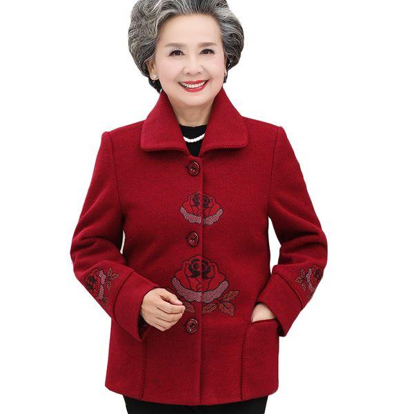 2019 xl-5xl middle-aged elegant blend women wool coat female warm outwear plus size mother jackets nw1427