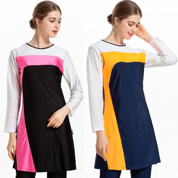Fashion-Swimming Suit For Women Hijab Clothing Top Bottom Caps 3 Piece Muslim Set Islamic Swimwear Swimsuit Dubai Abrab Bathing Burkini