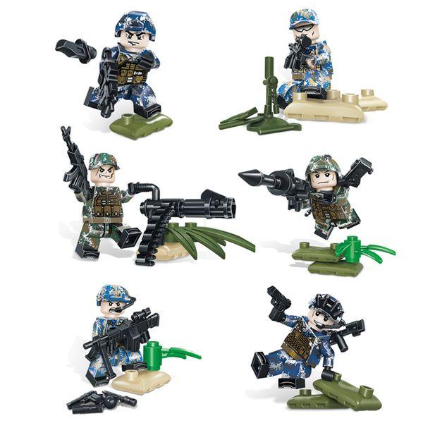 6pcs Lot Wilderness Formation spéciale Marine Armée Force aérienne Force spéciale militaire Figure à la construction d'armes Brick Block Toy Boy pour