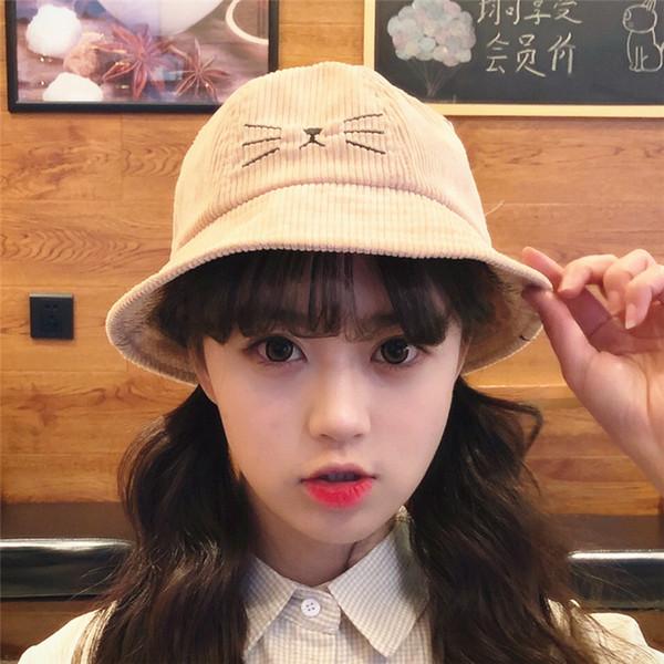 Mignon velours côtelé oreille de la mode belle Kitty seau chapeau anneau de fer pêcheur '; S chapeau printemps et automne chapeau de soleil