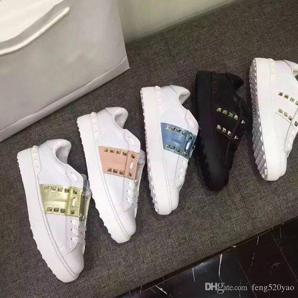 Klasik Spor Ayakkabı erkek kadın platformu Perçinli Beyaz ayakkabı ilkbahar ve sonbaharda lüks Tasarımcı Deri Düz tabanlı Rahat Ayakkabılar 34-45