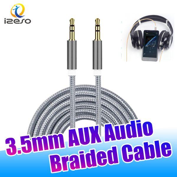 Cavo 3.5mm Audio Adapter 3ft 1m Maschio Stereo Audio Extendtion Cavi Auto nylon intrecciato a filo per Moblie Phones Tablet Altoparlanti izeso