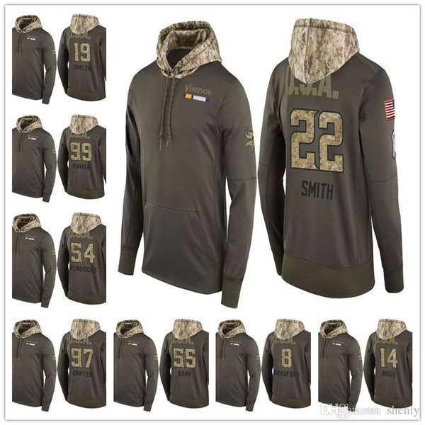 factory price b9069 c1376 2019 Men Youth Women Vikings Salute To Service Sideline Therma Pullover  Hoodie Harrison Smith Stefon Diggs Teddy Bridgewater Adam Thielen UK 2019  From ...