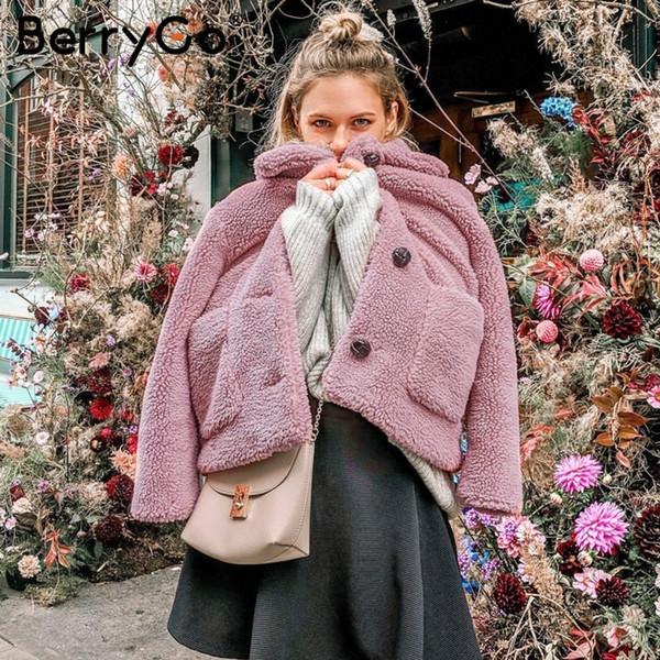 BerryGo elegante abrigo de invierno de imitación piel de las mujeres blanda mujer otoño chaqueta rosada abrigos de manga larga de las señoras ocasional outwear chaquetas SH190923