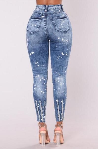 Büyük marka yüksek elastik jeansupreme büyük boy açık mavi tayt yüksek bel pantolon