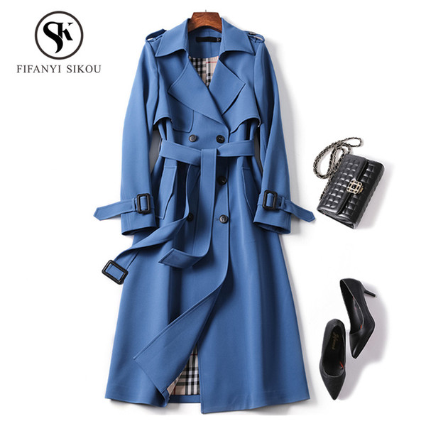 Klassische Frauen Trenchcoat Mode Zweireiher Gürtel Lässig Langen Graben 2019 Frühling Neue Dame Business Oberbekleidung hohe qualität