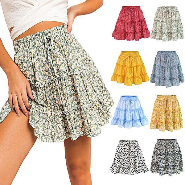 best selling Floral Dot Print Ruched Dress High Waist Ruffle Midi Skirt Summer Women Clothes Mini Dresses Drop Ship 220155