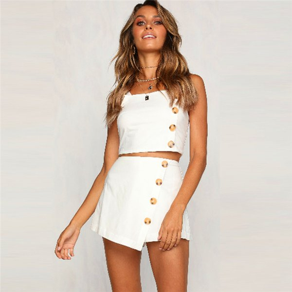 Sexy Womens Sleeveless Camisole Crop Top and Mini A-Line Skirt Suit Set with Button Clubwear Ladies Set Summer Daily Casual