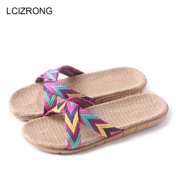 wholesale Summer 13 Colors Flax Home Slippers Women 35-45 Large Size Slapping Beach Flip Flops Non-slip Unisex Family
