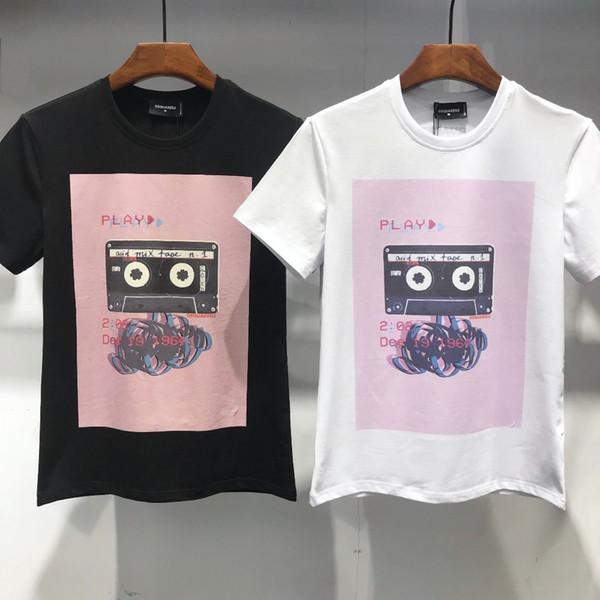 Moda masculina D2019 nova personalidade impressão Fino fino de manga curta tendência dos homens high-end personalizado T-shirt casual 714 DT475