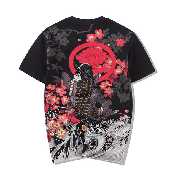 Baumwolle Oansatz T-shirt Stil Bestickt Karpfen Tattoo Japanischen Welt Malerei Lose Männer Kurze Ärmel 2018 Neue T-shirt Männer Verkauf