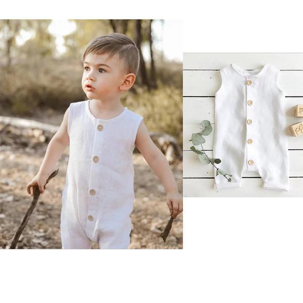 INS Toddler Baby Boys Blanc Solide Body Avant Bouton Combinaisons Sans Manches 100% Coton D'été Enfants Garçons Onesies 0-2T