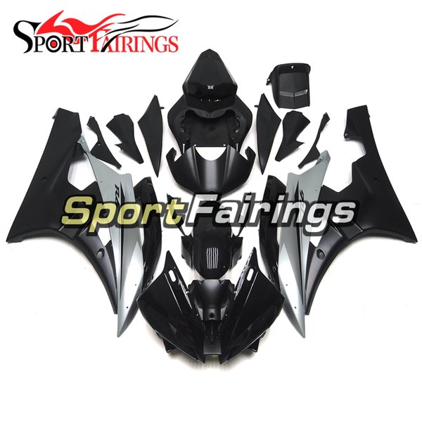 Injection Molding Complete Cowlings For Yamaha YZF-600 R6 Year 2006 2007 ABS Plastic Fairing Kit 06 07 R6 Gloss Silver Flat Black Body Works