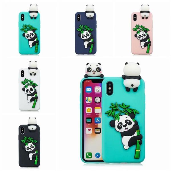 Coque TPU 3D en silicone souple pour iPhone X XR XS Max Belle Panda Chat Chien Licorne Téléphone Cas pour iPhone 8 7 6 6 S 5 5S Couverture