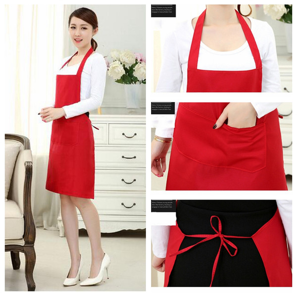 New Women Men Pockets Bib Kitchen Soil Release Solid Colors Home Cloth Simple Cooking Baking Adjustable Art Drawing Pinafore