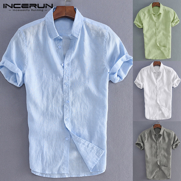 Incerun Elegant S -5xl Herren T Tops Freizeithemden Herren Social Shirts Kleid Schlüssel Drehen Bottom Neck Slim Fit Herrenbekleidung Hemd Y19071301