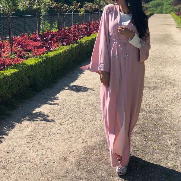 2019 Nouveau modèle femmes vêtements islamiques robe musulmane Dubai Abaya robe noire et rose caftan eid abaya