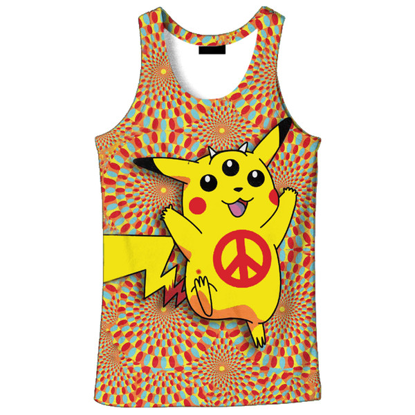 2018 hot sale New fashion 3D men's Pikachu print 9 size casual Tanktop custom-made print free shipping