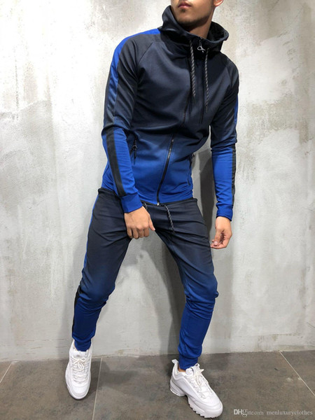 Mens Fashion Spring Hiphop Tracksuits Designer Cardigan Hoodies Pants 2pcs Clothing Sets Pantalones Outfits