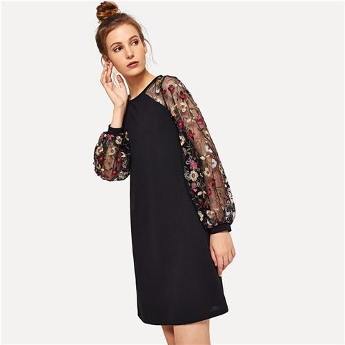 2019 Weekend Casual Modern Lady Black Flower Embroidered Mesh Contrast Long Sleeve Short Women Autumn Elegant