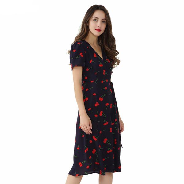 Vintage V Neck Floral Pattern Midi Wrap Dress Cherry Dress Bow Tie Cross Design Short Sleeve Vestido