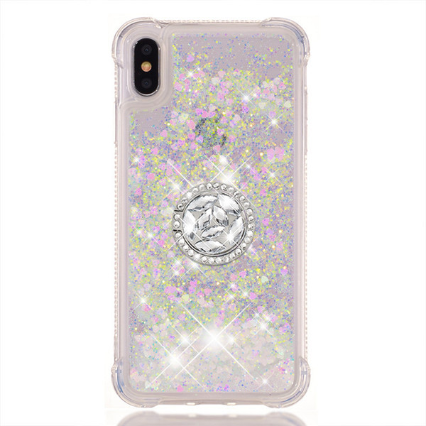 New Anti-fall Liquid Glitter Quicksand Case For Samsung Galaxy S5 S6 S7 Edge Note 8 N950 Grand Prime Pro TPU Shell with Ring buckle Cover