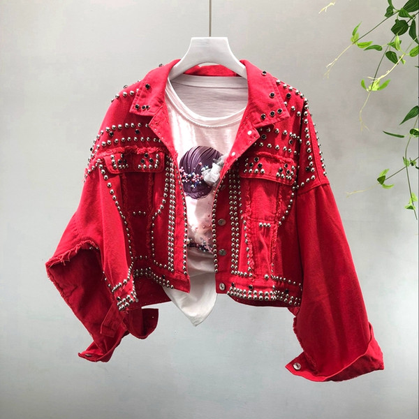 2018 Autumn Women's Harajuku Red Denim Jacket Coat Heavy Hand Beaded Rivet Short Black Jeans Jackets Students Basic Coats Outfit