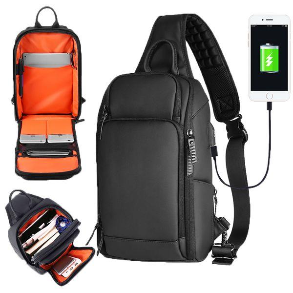 2019 spalla Sacchetto multifunzionale del pacco petto Uomini di ricarica USB Messenger Sling Bag Casual Male Viaggi Crossbody Borse Per 7.9
