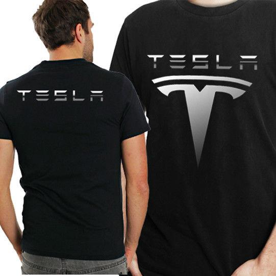 608d762a Tesla Logo Tee Two Sides Black Tshirt Cotton New Men's T-Shirt hoodie hip  hop t-shirt jacket croatia leather tshirt