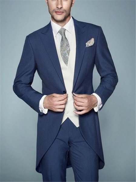 2019 New Arrival Navy Blue Morning Style Gentleman Suit Italian Tailcoat 3 Pieces Groom Tuxedos Mens Wedding Prom Blazer Suits