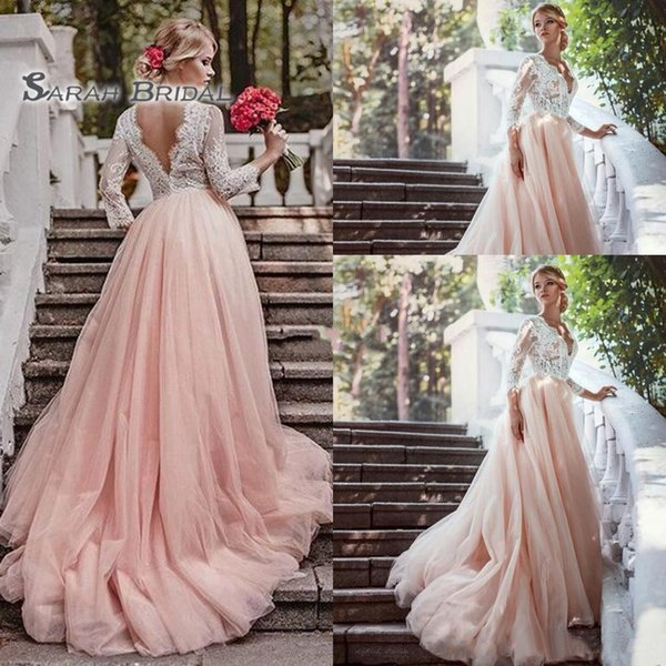 best selling 2019 Vintage Boho A-Line Pink Wedding Dress Beach Sexy Long Sleeves Lace Backless V-Neck Evening Wear Formal Gown High-end Wedding Boutique