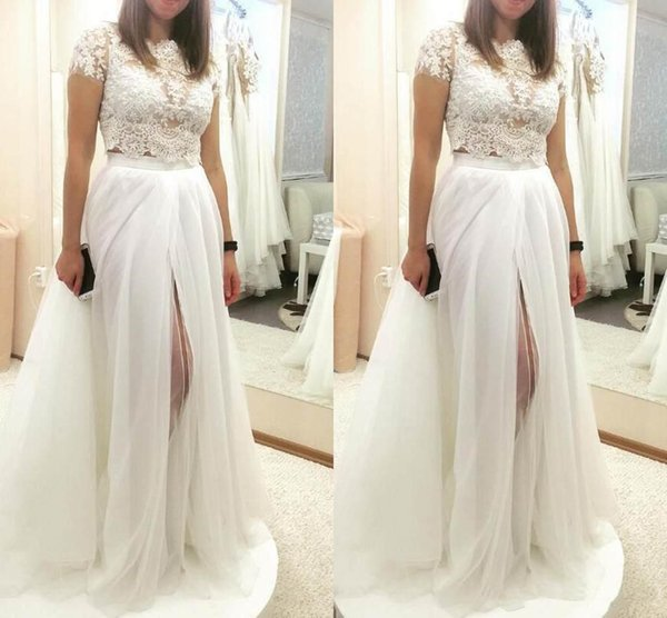 2019 Vintage Ball Gown Wedding Dresses Two Pieces Thigh-High Slits Lace Applique Bridal Gowns Removable Skirt Style Gowns 3790