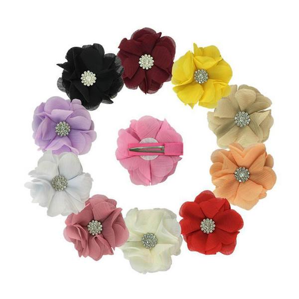 Ins filles de fleurs cristal mousseline clips cheveux enfants floraux princesse Barrettes bébé BB pince clips cheveux design filles accessoires pour cheveux