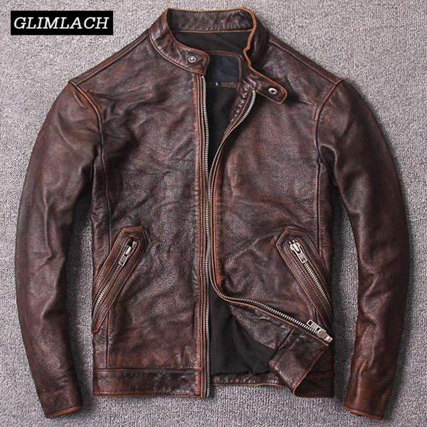 Nuovi cappotti di pelle di mucca genuino autunno marrone genuino degli uomini Qualità Giacche da moto in vera pelle di Cowskin Slim vera Giacca da motociclista di moda