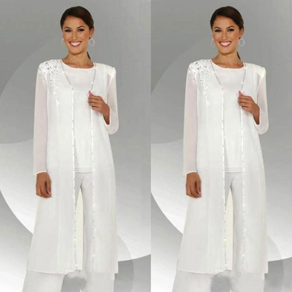 Beyaz Anne Üç Adet Anne Gelin Pant Suits Uzun kollu Ceketler Düğün Konuk Elbiseler Artı Boyutu Boncuklu Anneler Damat Elbise