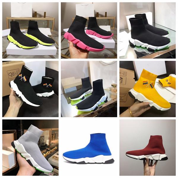 Hız Eğitmeni Çorap Sneaker Erkekler Yüksek Top Çorap Ayakkabı Kadın Renk Sole Rahat Ayakkabılar Tasarımcı Kayma-ON Hız Eğitmeni Sneaker Ile Kutu