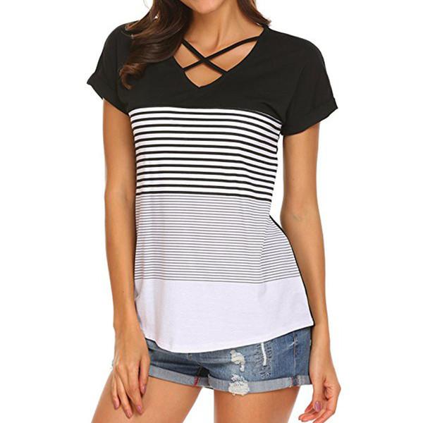 friends O-Neck Striped Panel Short Sleeve T-Shirt Casual fashion loose top women shirts korean style kawaii chemise femme