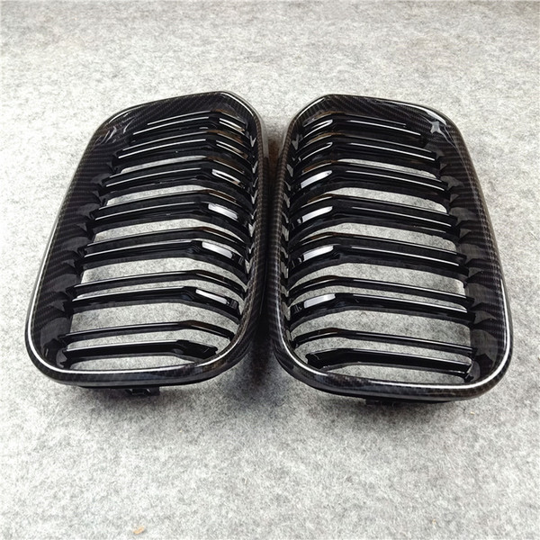 top popular ABS Material Front Grilles For B-MW 1 Series F20 F21 Carbon Look Bumper Air Intake Car Grill Grille 2021