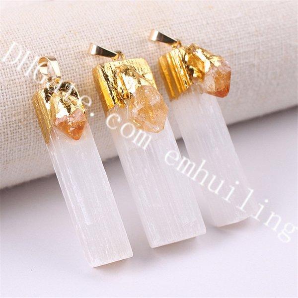 gold white selenite w/citrine