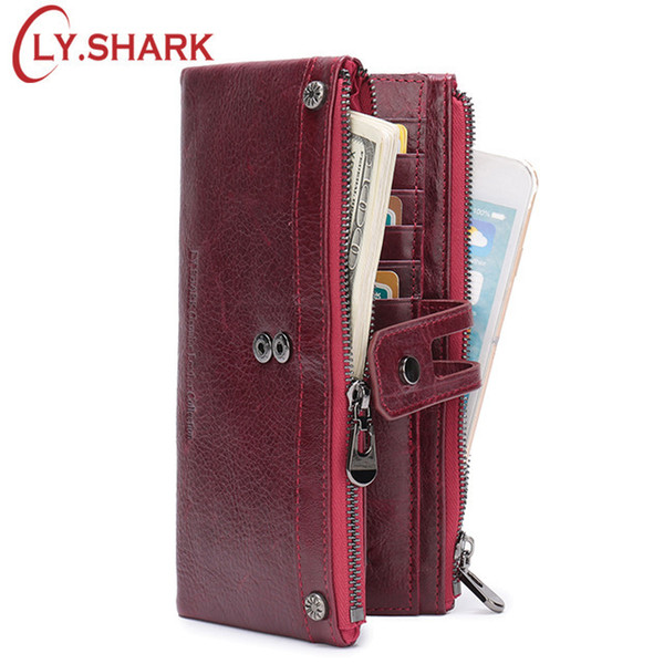 Ly.shark Red Wallet Female Wallet Women Genuine Leather Women Wallet Long Big Green Purse Two Zippers Coin Purse Women Clutch Y19052302