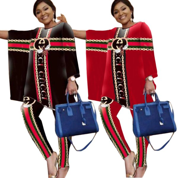 Delle donne di marca di lusso vestito da formato 2020 Lettera Nuovo chiffon Primavera Autunno vintage Patchwork increspato vestiti rossi più il vestito da donna coreana 2XL