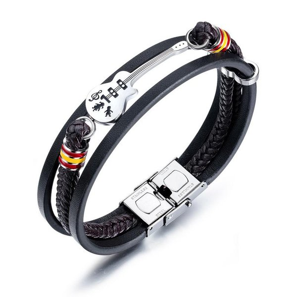 2019 New Fashion Leather Bracelet for Men Black Braid Multilayer Rope Chain Stainless Steel Male Jewelry Gifts Guitar bracelet