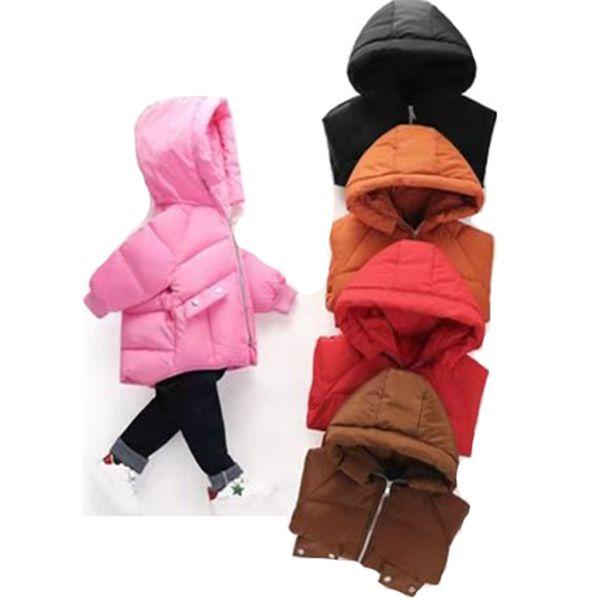 Rouge / Noir / Rose / Brown Couleur New Parkas Pour âge 18M-6 Filles Garçons Vêtements pour enfants épais manteaux à capuchon bébé Manteaux d'enfants