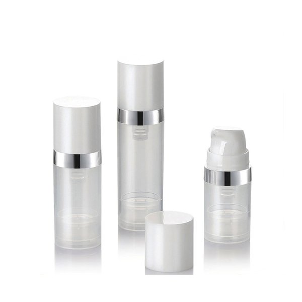 Empty 5ml 10ml Airless Bottles Clear Airless Vacuum Pump Lotion Bottle with Silver Line Cosmetic Packaging