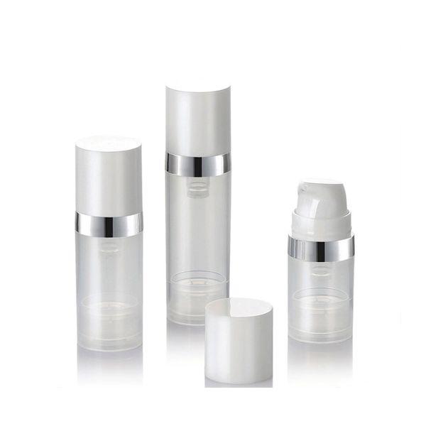 Vacío 5ml 10ml 15ml Botellas sin aire Botella de loción de bomba de vacío sin aire transparente con línea de plata Embalaje cosmético