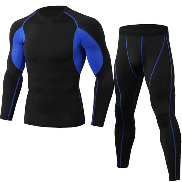 New summer men's sportswear set quick-drying breathable gym exercise jogging suit yoga fitness clothing long-sleeved o-neck