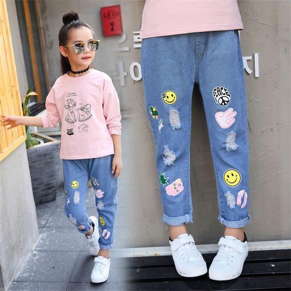 brand new 43427 f2fc7 Acquista Bambini Jeans Ragazze Moda Ragazza Denim Pantaloni Ragazze Del  Fumetto Jeans Vestiti Ragazze 12 Anni 2019 A $19.1 Dal Changshauu    DHgate.Com