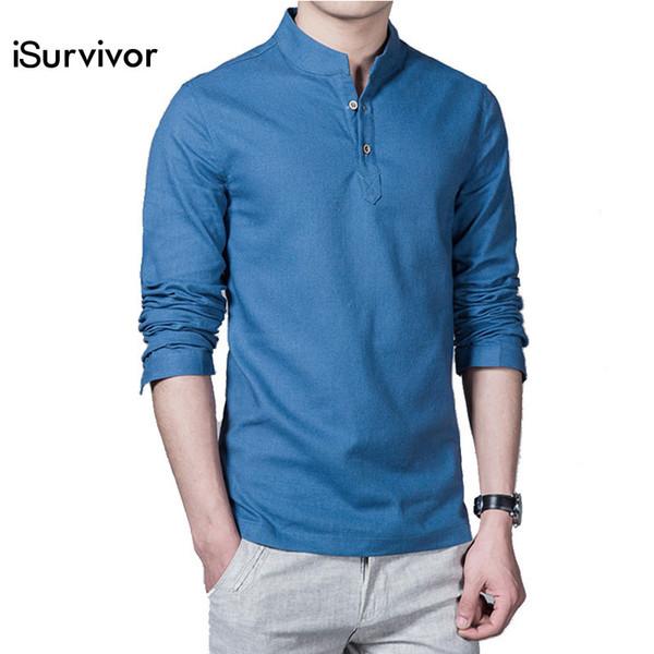2018 nuevos hombres camisas suéteres moda casual Slim Fit de gran tamaño de manga larga para hombre camisas de lino Camisa Masculina Hombre Y190415